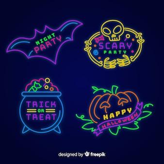 Colección de letreros de neón de halloween