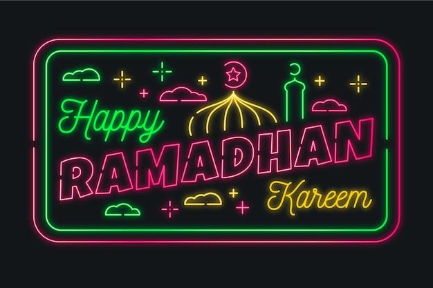 Colección de letreros de neón de letras de ramadán