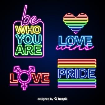 Colección de letreros del orgullo lgbt en luz neón