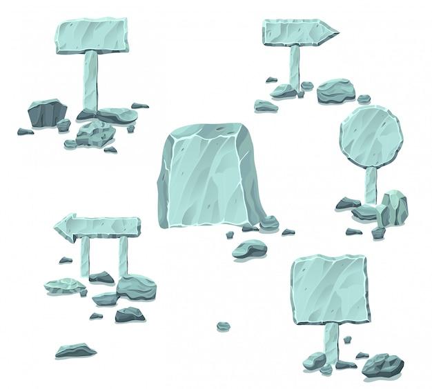 Colección de letreros y punteros de piedra en blanco