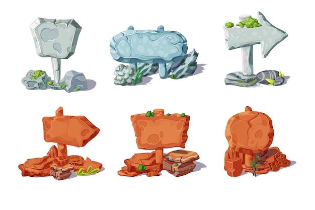 Colección de letreros y punteros de piedra de colores con plantas en estilo de dibujos animados aislado