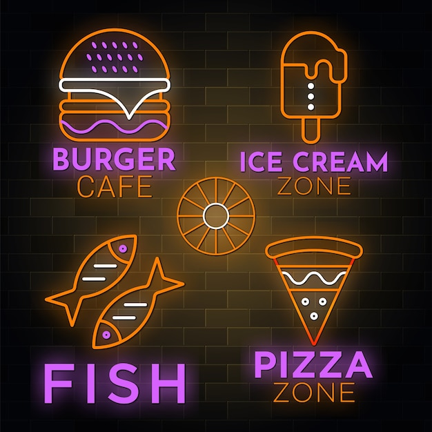 Colección de letreros de restaurante en estilo neón.