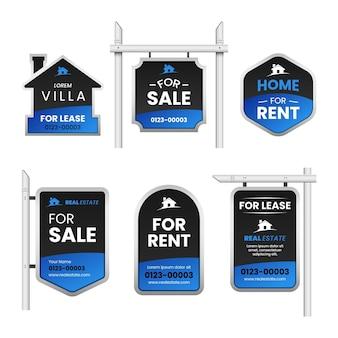 Colección de letreros de venta inmobiliaria