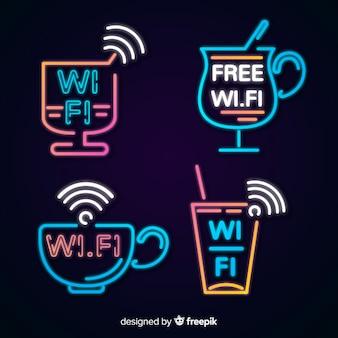 Colección de letreros de wifi gratis en luz neón