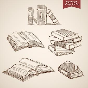 Colección de libros abiertos, cerrados de biblioteca dibujados a mano vintage de grabado.