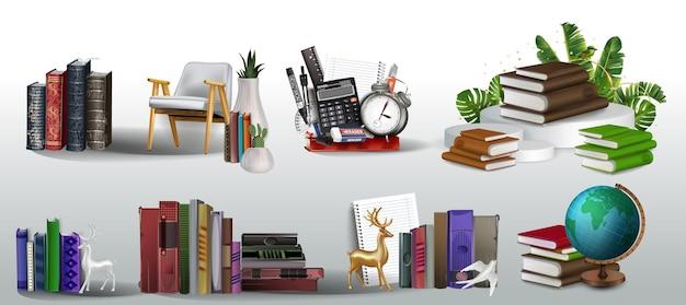 Colección de libros, club de lectura, regreso a clases, pila de libros