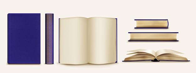 Colección de libros y lomos realistas.