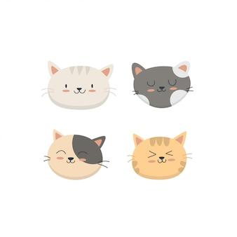 Colección linda de la cara de los gatos del bebé