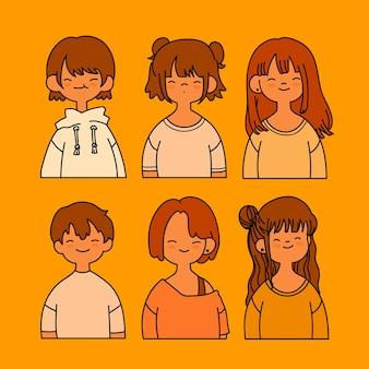 Colección de linda chica con chico aislado en amarillo
