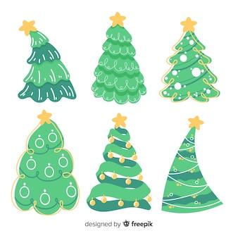 Colección linda dibujada a mano del árbol de navidad