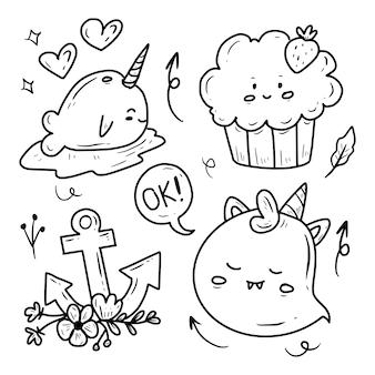Colección linda del dibujo del doodle de la etiqueta engomada de la historieta de halloween