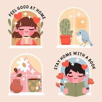 Colección linda estancia en casa dibujada a mano