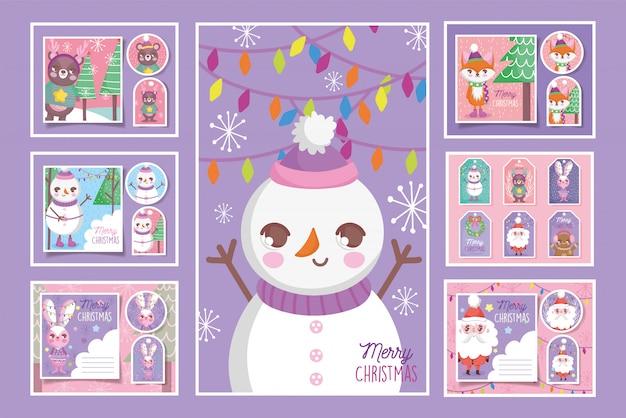 Colección linda de etiquetas y tarjetas de feliz navidad