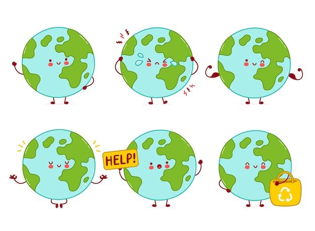 Colección linda feliz divertida del juego de caracteres del planeta tierra