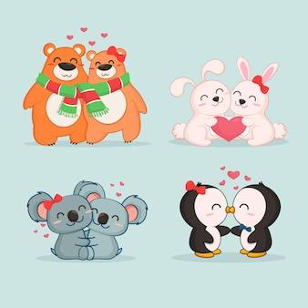 Colección linda pareja de animales del día de san valentín