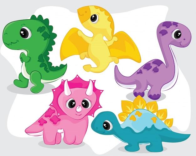 Colección linda de pequeños dinosaurios bebé