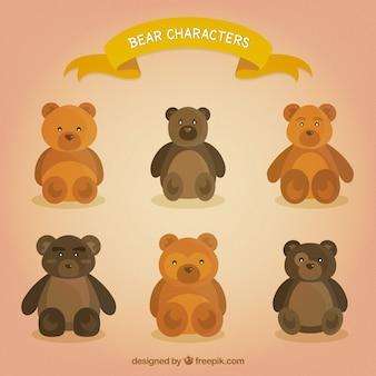 Colección linda de personajes de oso