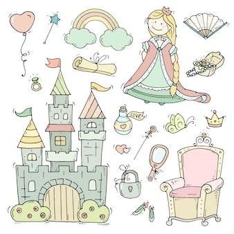 Colección linda princesa de dibujos animados