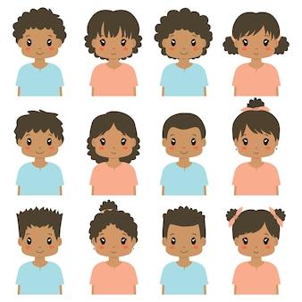 Colección linda del vector del avatar de los niños afroamericanos.