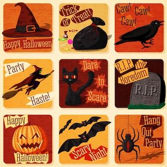 Colección de lindas ilustraciones de halloween estilizadas retro con signos de vacaciones y todos sus símbolos: gato, murciélago, bruja, calabaza, cuervo, araña, etc.