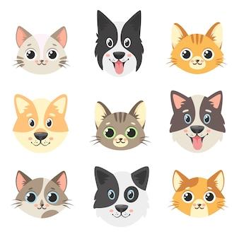 Colección de lindas mascotas. caras de perros y gatos. aislado sobre fondo blanco.