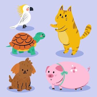 Colección de lindas mascotas domésticas