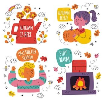 Colección de lindas pegatinas de otoño dibujadas a mano
