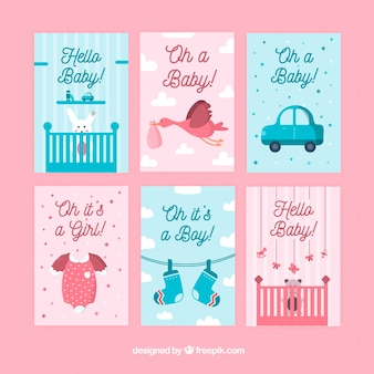 Colección de lindas tarjetas de bebé