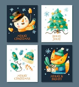 Colección de lindas tarjetas navideñas en acuarela