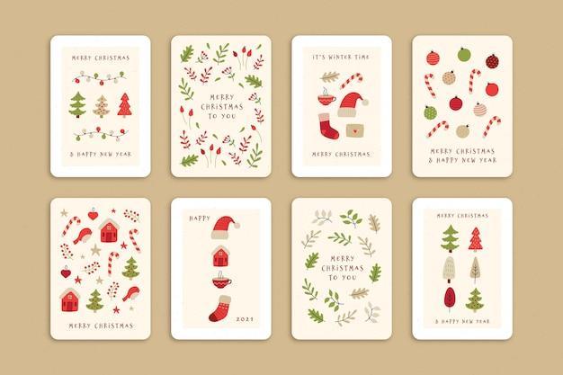 Colección de lindas tarjetas navideñas orgánicas
