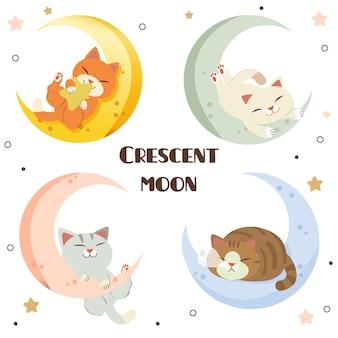 La colección de lindo gato con la luna creciente en estilo vector plano.