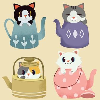 La colección de lindo gato sentado en la tetera.