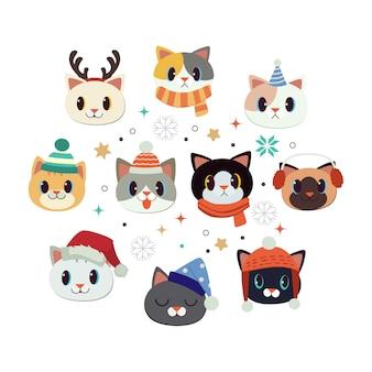 Colección de lindo gato con tema navideño