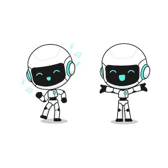Colección de lindo robot en muchas acciones, personaje de mascota kawaii para ejemplares