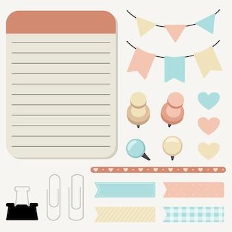 La colección de lindos alfileres adhesivos y objetos para mensajes de notas de blocs de notas en estilo plano.