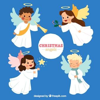 Colección de lindos ángeles de navidad