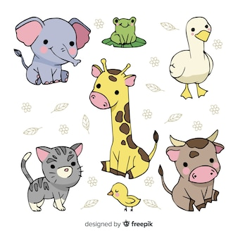 Colección de lindos animales dibujados a mano