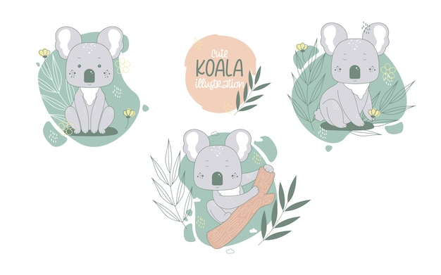 Colección de lindos animales de dibujos animados de koalas. ilustración vectorial