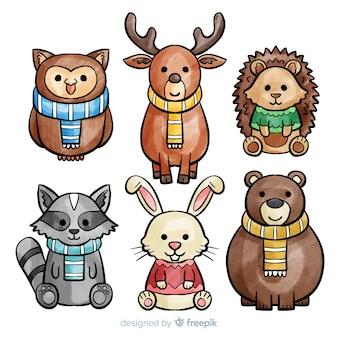 Colección de lindos animales de invierno