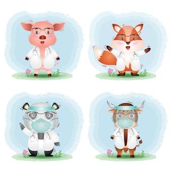 Una colección de lindos animales con vestuario médico: cerdo, zorro, panda y yak