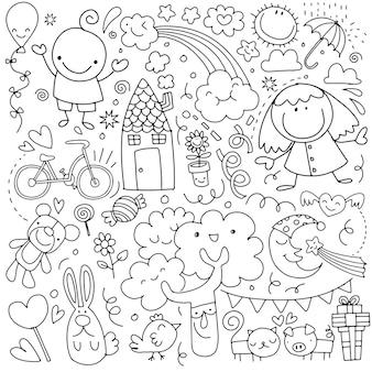Colección de lindos dibujos infantiles de niños