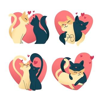 Colección de lindos gatos enamorados