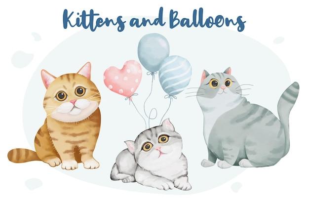 Colección de lindos gatos y globos en estilo acuarela.