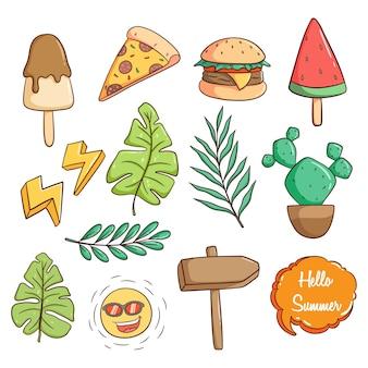 Colección de lindos iconos de verano con estilo doodle dibujado a mano