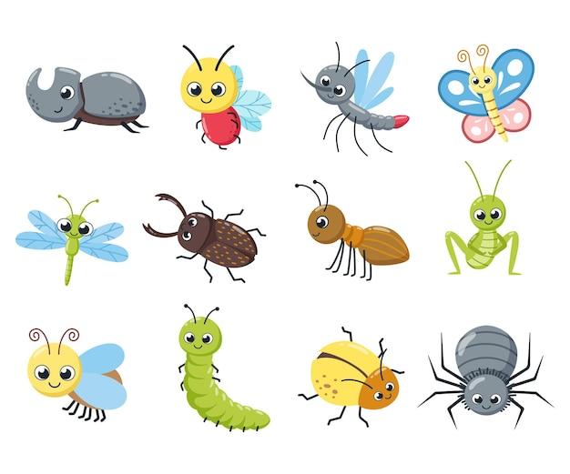 Una colección de lindos insectos. errores divertidos, oruga, mosca, abeja, araña, mosquito. ilustración vectorial de dibujos animados.