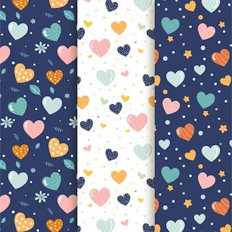 Colección de lindos patrones de corazón