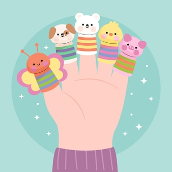 Colección de lindos títeres de dedo para niños