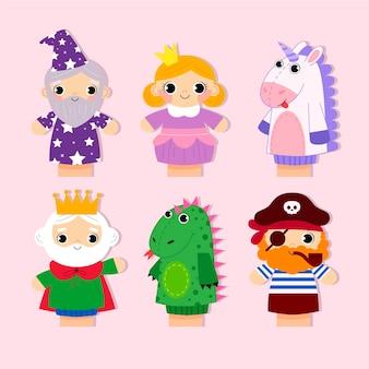 Colección de lindos títeres de mano para niños.