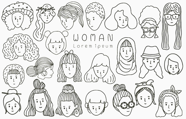Colección de línea de gente negra con mujer, mujer, niña, personas.ilustración de vector para icono, logotipo, pegatina, imprimible y tatuaje