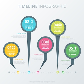 Colección de línea de tiempo infográfica